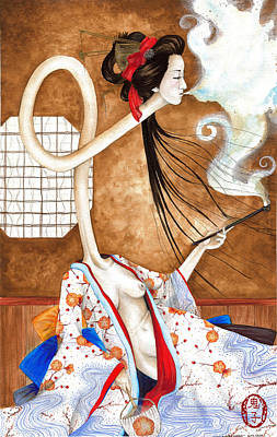 Oni Painting - Smoking Siren by Rachel Walker