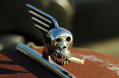 Smoking Skull Hood Ornament Print by Jill Reger