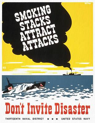 Mixed Media - Smoking Stacks Attract Attacks - Restored by Vintage Advertising Posters