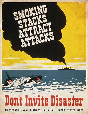 Mixed Media - Smoking Stacks Attract Attacks - Vintagelized by Vintage Advertising Posters