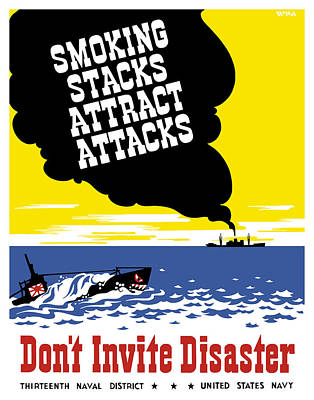 Works Progress Administration Painting - Smoking Stacks Attract Attacks by War Is Hell Store