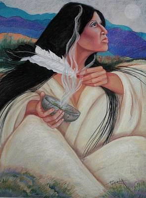 To Heal Pastel - Smoking The Sage by Pamela Mccabe