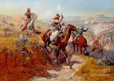 Cattle Roundup Painting - Smoking Them Out  by Pg Reproductions