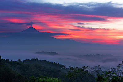 Photograph - Smoking Volcano And Borobudur Temple by Pradeep Raja Prints