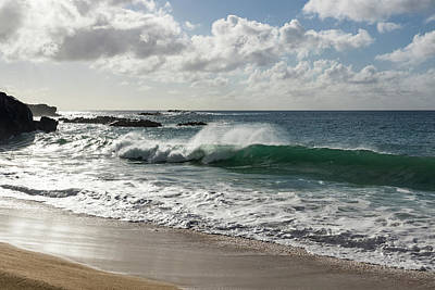 Photograph - Smoking - Wave Action At Waimea Bay Beach North Shore Oahu Hawaii by Georgia Mizuleva