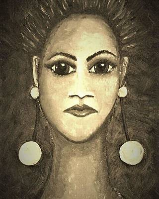 Brown Wall Art - Mixed Media - Smoking Woman 1 by Joan Stratton