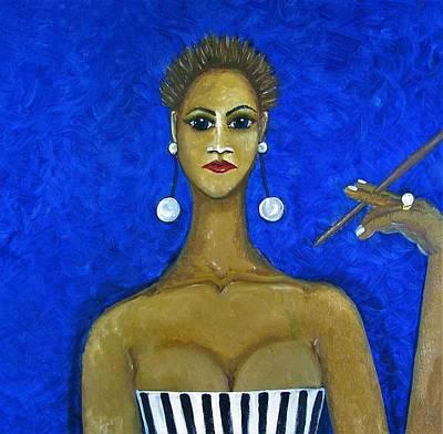 White Wall Art - Mixed Media - Smoking Woman 2 by Joan Stratton