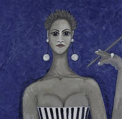 Mixed Media - Smoking Woman 3 - Blue by Joan Stratton