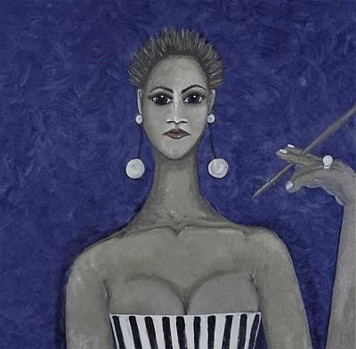 Wall Art - Mixed Media - Smoking Woman 3 - Blue by Joan Stratton