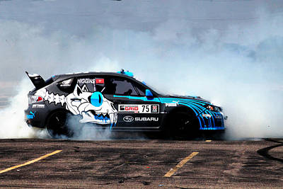 Subaru Rally Photograph - Smoky Drift In A Subaru Sti by Erin Hissong