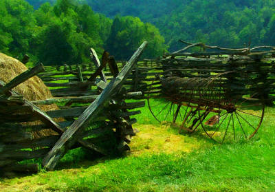 Split Rail Fence Digital Art - Smoky Mountain Farm 1900s by Chris Flees