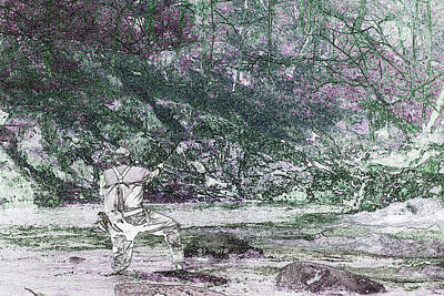 Art Print featuring the photograph Smoky Mountain Fisherman by Mike Eingle
