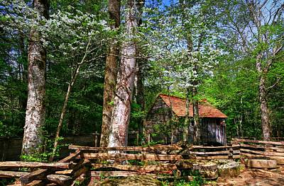 Photograph - Smoky Mountain Grist Mill Among The Dogwoods by Carol Montoya