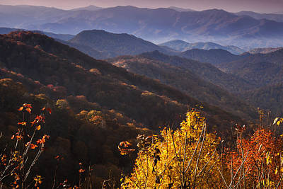 Smoky Mountain Hillsides At Autumn Art Print by Andrew Soundarajan