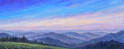 Blue Ridge Painting - Smoky Mountain Wildflowers - Panorama by Jeff Pittman