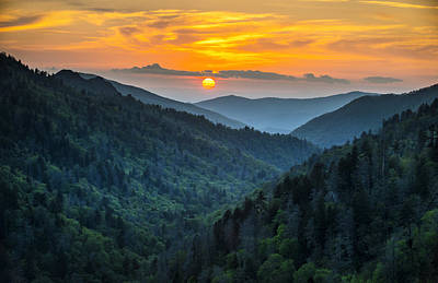 Smoky Mountains Sunset - Great Smoky Mountains Gatlinburg Tn Art Print by Dave Allen