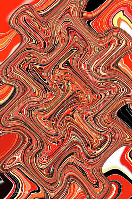 Digital Art - Smoky Red Sun Abstract by Tom Janca