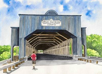 Covered Bridge Painting - Smolen-gulf Bridge by Laurie Anderson