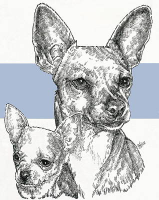 Mixed Media - Chihuahua - Smooth Coat - And Pup by Barbara Keith