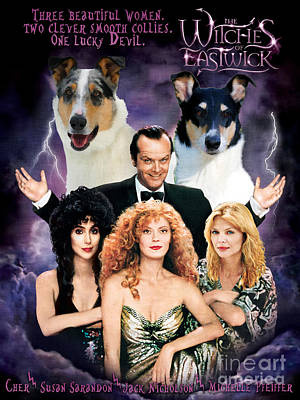 Painting - Smooth Collie Art Canvas Print - The Witches Of Eastwick Movie Poster by Sandra Sij