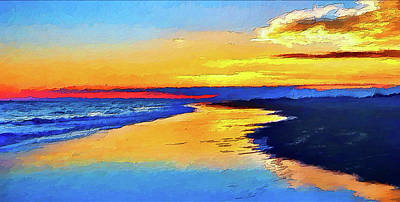 Painting - Smooth Sunset On Ocracoke Outer Banks Ap by Dan Carmichael