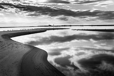 Photograph - Smooth Water Reflections Bw by Bill Wakeley
