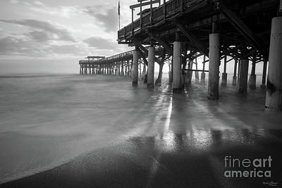 Photograph - Smooth Waves At Cocoa Pier Grayscale by Jennifer White
