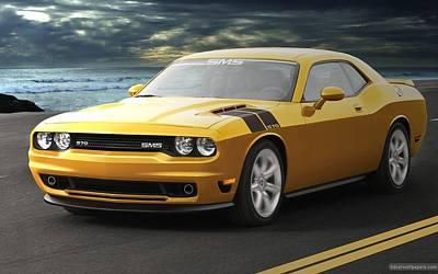 Challenger Digital Art - Sms Dodge Challenger Wide by Anne Pool