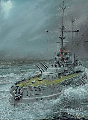 Dreadnought Painting - Sms Friedrich Der Grosse At Jutland 1916 by Vincent Alexander Booth