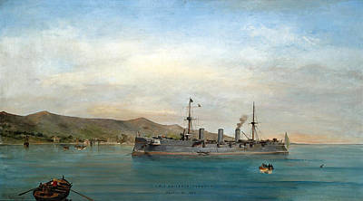 Painting - S.m.s. Kaiserin Augusta. Phaleron Bay 1897 by Konstantinos Volanakis