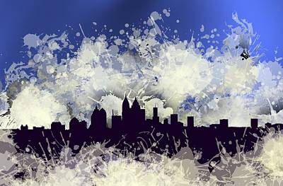 Paint Digital Art - Smudge Atlanta Skiline.blue by Alberto RuiZ