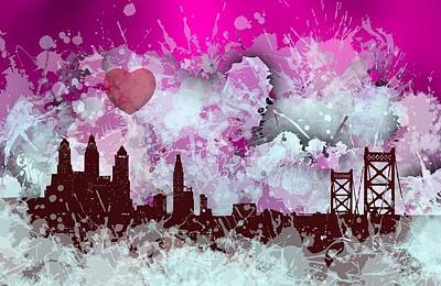 Veiled Digital Art - Smudge Philadelphia Skyline With Love by Alberto RuiZ