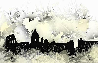 Rome Digital Art - Smudge Rome Skyline by Alberto RuiZ