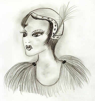 Drawing - Smug Flapper by Sonya Chalmers