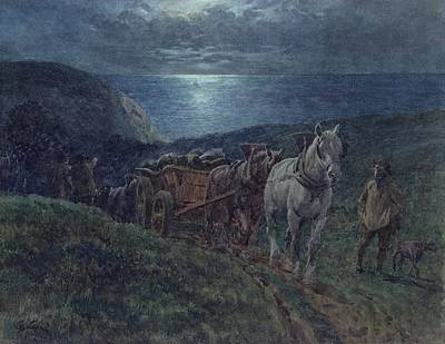 Shire Horse Painting - Smugglers by William Barnes Wollen
