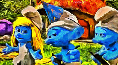 Faces Digital Art - Smurfette And Friends - Da by Leonardo Digenio