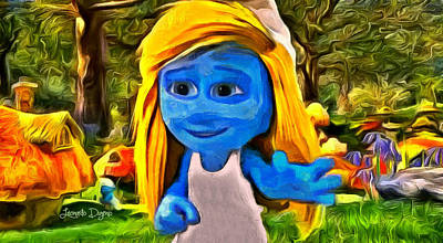 Little Girl Painting - Smurfette Saying Hello - Pa by Leonardo Digenio