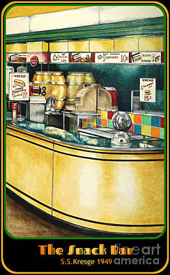 Snack Bar Drawing - Snack Bar by David Neace