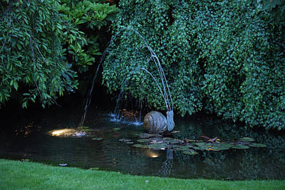 Photograph - Snail Fountain At Dusk by Michael Bessler