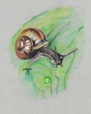 Painting - Snail On A Leaf by Masha Batkova