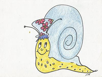 Animation Drawing - Snail With Flower Hat by Gabriel Coelho