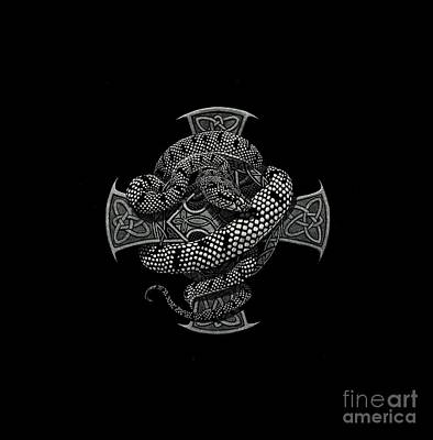 Drawing - Snake Cross T-shirt by Stanley Morrison