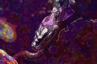 1907 Digital Art - Snake Head Snakehead Reptile Close  by PixBreak Art