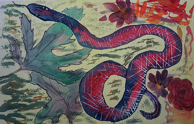 Painting - Snake In The Garden by Cathy Anderson