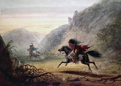 Thief Painting - Snake Indian Pursuing A Crow Horse Thief by Alfred Jacob Miller