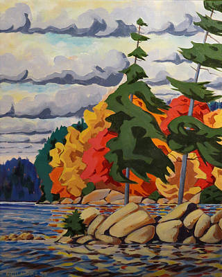 Painting - Snake Island In Fall-close by David Gilmore