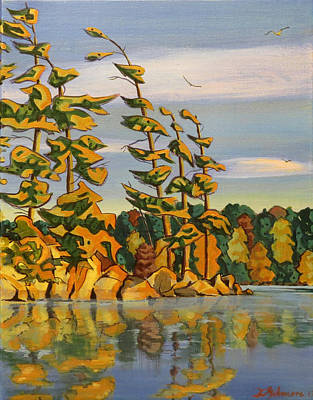Painting - Snake Island In Fall Sunset by David Gilmore