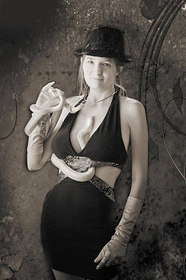Photograph - Snake Lady Or Girl With Live Snake Photograph 5242.01 by M K Miller