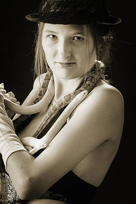 Photograph - Snake Lady Or Girl With Live Snake Photograph 5246.01 by M K Miller