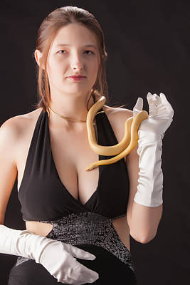 Snake Lady Or Girl With Live Snake Photograph 5252.02 Art Print
